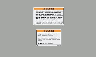 Yamaha Banshee Warning Decals